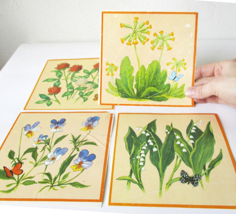 Vintage Decals Retro 1970s Ceramic Tile Stickers Transfer Set