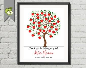 Teacher apple tree, Thank you teacher, teacher appreciation, gift, Customised, Fingerprint apple tree, class gift, child names, printable