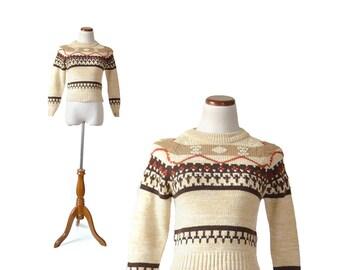 Kids sweater, girls sweater, Fair Isle Sweater  Ski Sweater tan sweater pullover sweater   Women Tops Sweaters  Vintage Top Sweater
