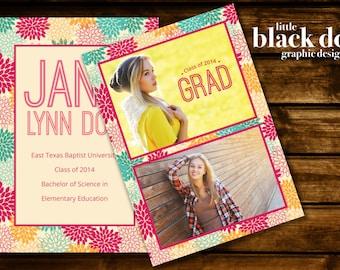 Colorful Floral Graduation Announcement/invitation