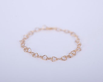 Bracelet  Gold Heart Links Love Chain Plated Hearts Gold Plated