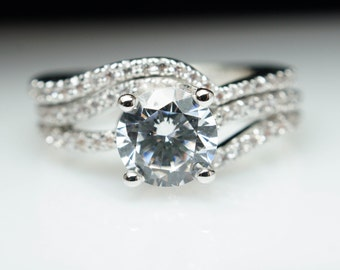 Diamond Swirl Diamond Solitaire Engagement Ring & Matching Wedding Band Complete Bridal Set Engagement Set