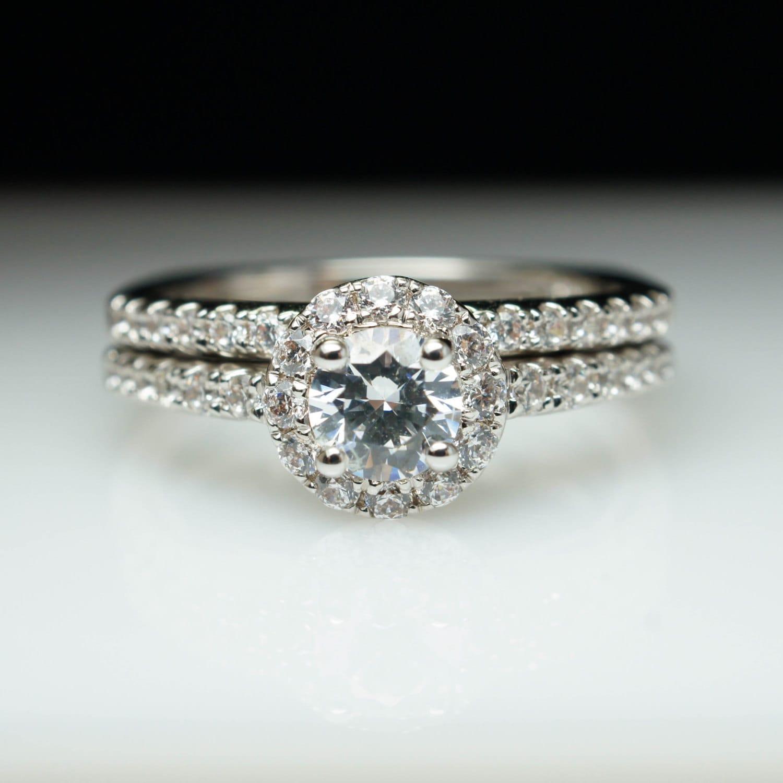 round halo diamond engagement ring amp wedding band complete set