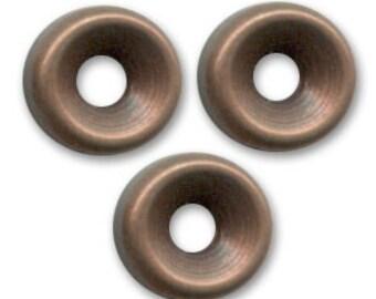 Metal rondelle 5 mm copper tone x 4 pcs