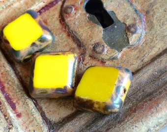 Table cut square yellow with rustic picasso bead 15 mm x 1 pcs