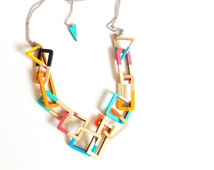 Wooden Link Geometric Necklace, Wood Chain Necklace,Geometric Jewelry