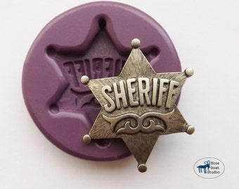 Sheriff Badge Mold/Mould - Western Mold - Silicone Molds - Polymer Clay Resin Fondant