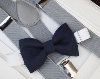 Navy bow-tie & gray elastic suspender set, Boy bow tie and suspenders set , Men bow tie and suspenders