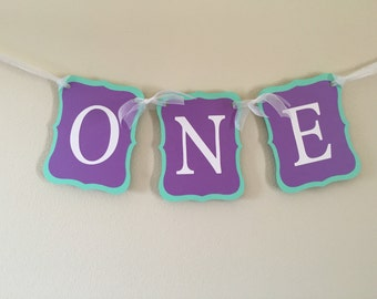 One banner, First Birthday, Purple and Teal