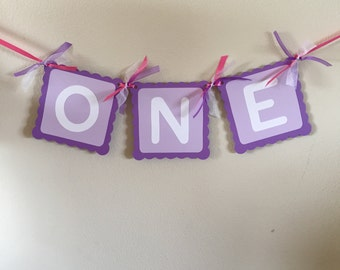One Banner, Purple with Pink One Banner, First a Birthday, I am One, Purple, Pink