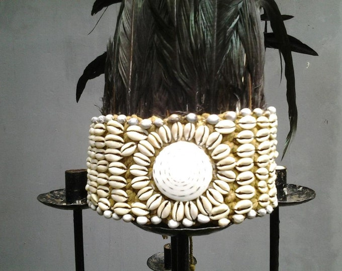 Traditional papua tribe crown black Feathers