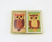 Set of 2 Owl Congress Playing Cards Vintage
