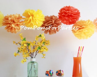 Set of 12 High Quality SMALL Tissue Pom Poms - Tissue poms - Pompoms - Hanging poms - Paper flower - Tissue paper balls