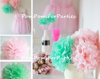 Set of 12 (5L/7M) mixed size hanging Tissue Pom Poms - wedding - party - christning - bridal - nursery decorations