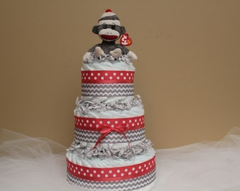 Sock Monkey Diaper Cake with Color Choice