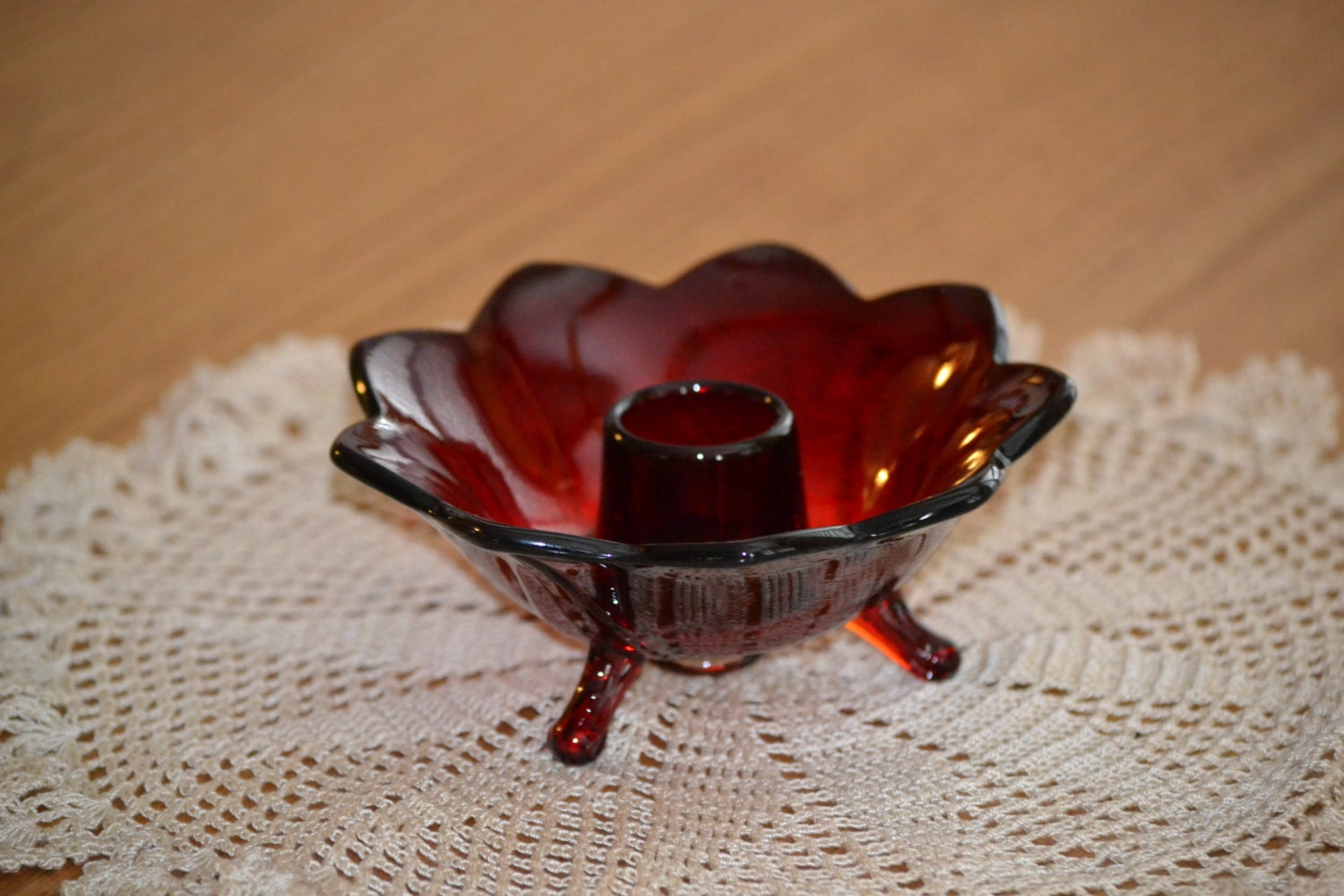 Fenton Ruby Red Glass Footed Candle Holder