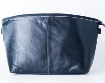Dslr Camera bag insert in vegetable tanned leather - Padded dividers - colour black