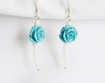 Blue Rose and Sea Shells Dangle Earrings Contemporary Costume Jewelry