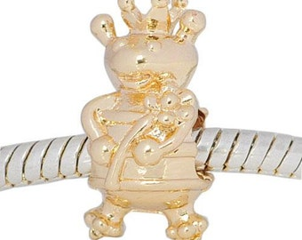Golden Bee, European Charm Bead For All Large Hole Charm Bracelet And Necklace Chain. Goldtone, Spring Collection 17x9mm