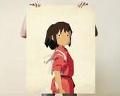 Chihiro, Print, Nursery, Baby, Gift, Poster, Illustration, Art, Painting, Watercolour, Wall, Studio Ghibli, Spirited Away, Chihiro, Totoro