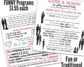 Funny Wedding Programs - MEDIUM - printed on ONE SHEET of card stock Qty. 50