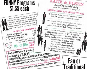 Funny Wedding Programs Humorous Wedding Program - MEDIUM