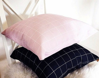 Pink and White Grid Pillowcase