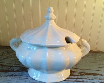 Vintage White Soup Tureen Serving Dish Wedding Gift Flower Vase