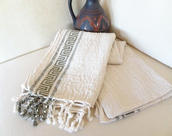 Linen Ecru,Olive Green Striped Peshtemal, Turkish PESHTEMAL, Hittite Designs, Spa,Bath,Beach,,Yoga,Pool,Fitness Towel