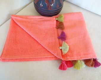 Traditional Turkish Towels, Salmon Color Velvet Towel, Tassel Towels, Multicolored Tassel, Bridesmaid Gifts, spa,beach towels, Gift for Her