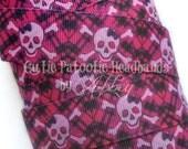 "Pink and Black Skull Punk Rock 7/8"" Printed Grosgrain Ribbon - 5 yards"