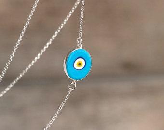 Round Evil Eye Necklace Small Evil Eye Necklace Turquoise Evil Eye Pendant Silver Evil Eye Necklace Layered necklace Everyday jewelry