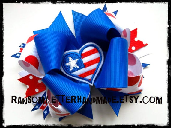 Red White and Blue Bow American Flag Bows Patriotic Outfits Fourth of July Hair Bows Felt Hearts USA Flag Center