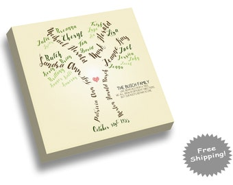 Family Tree Canvas Print - Gift for Grandparents