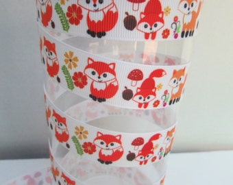 51-Red Foxes Romping in the Woodland - Grosgrain Ribbon - 3 or 5 yards x 7/8 inch