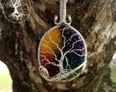 Tree of Life Pendant / Silver / Stone Jewelry / Rainbow Quartz