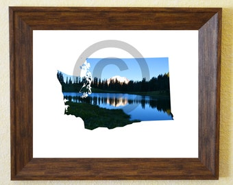 Washington State Wall Art Print, Home Decor, Instant Digital Download, Mt. Rainier Image, 8 x 10