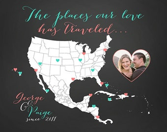 Customized Gift, Map of Places Traveled, Wedding Anniversary, Husband and Wife, Bahamas, Caribbean, Mexico, USA, Hawaii, Honeymoon, Couple