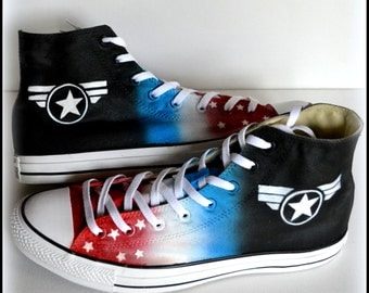 Custom Painted Mens Converse, Size 12 Shoes, Captain America Themed Shoes, Last Minute Gifts, Gifts for Him, SHIPS FAST