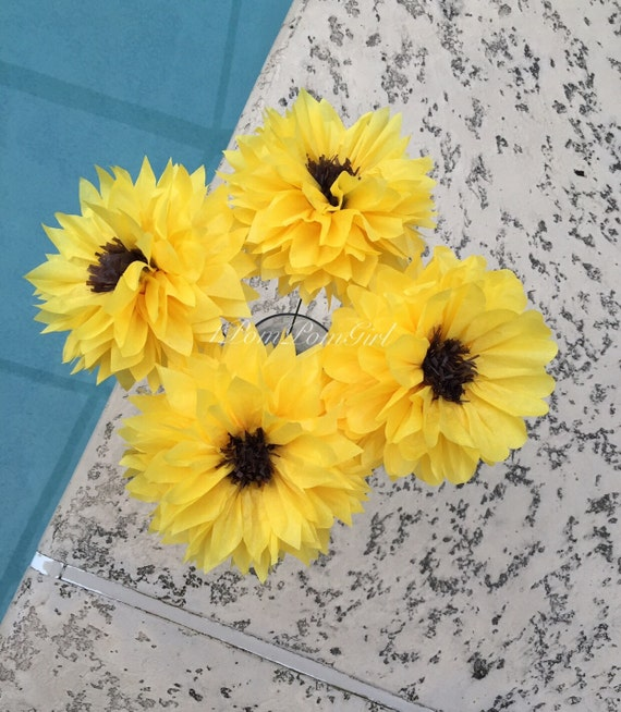 SUNFLOWERS- 4 Count Tissue Paper Flowers Pom Poms /Baby