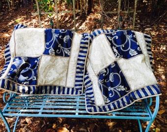 Free Shipping US! Pair of Midnight blue & Ivory Damask Shams - Gorgeous Shams, Damask Shams, Satin Shams,  Midnight Blue Pillow Covers,-