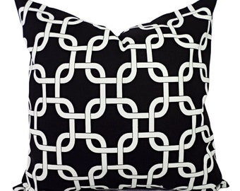 Two Black Couch Pillows -  Black and White Geometric Pillow - Decorative Throw Pillow Cover Accent Pillow