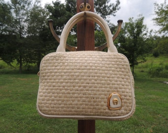 P000267 Vintage Classic 1980's Era Cream & Natural Woven Paper Straw  Etienne Aigner Hand Bag Purse -By God Oddities Decor on Etsy