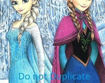 Anna and Elsa 11 x 17 colored pencil drawing print