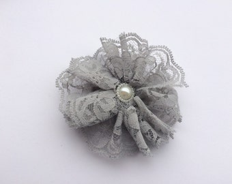 Gray lace flower hair clip