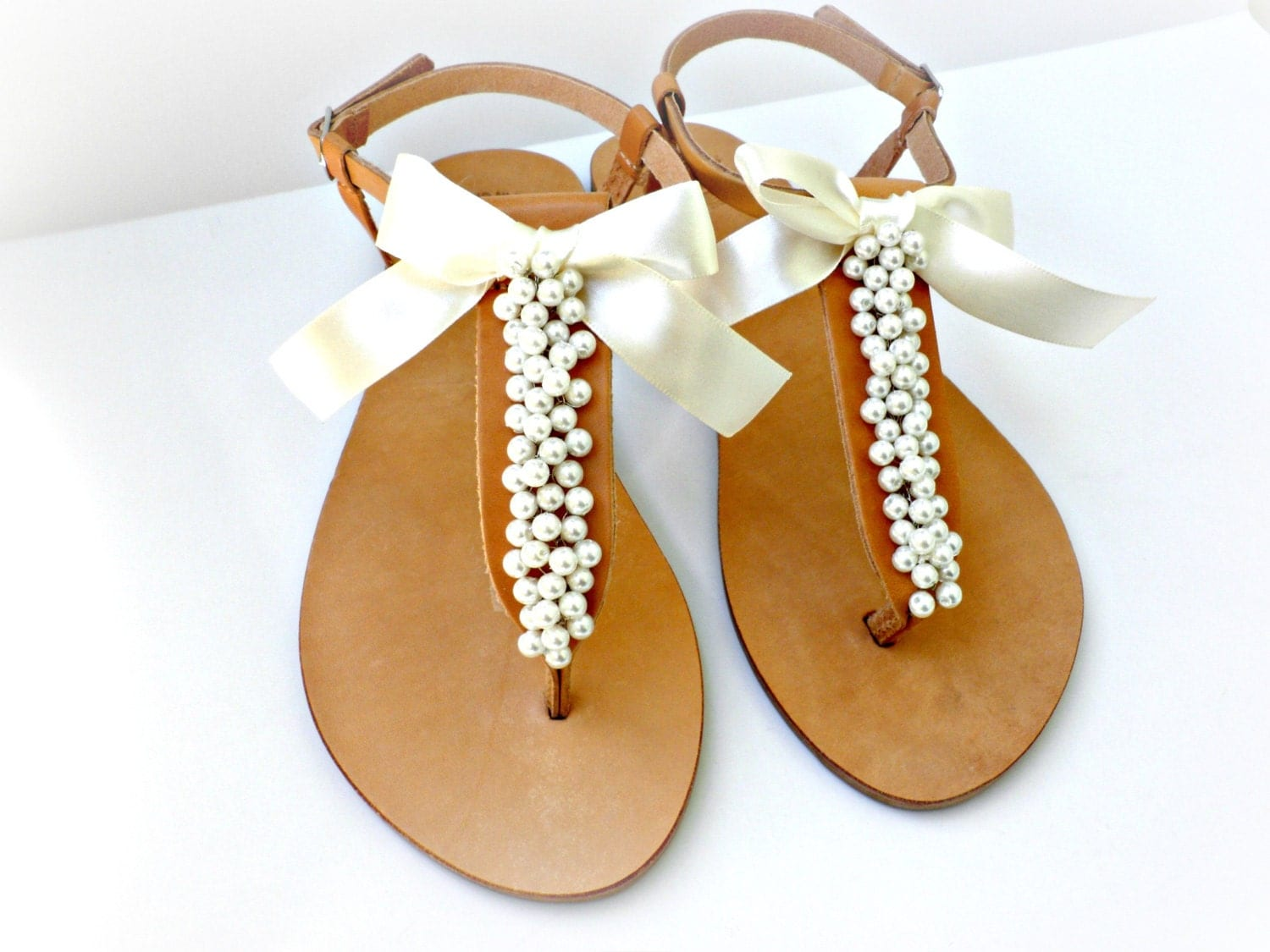 Wedding Sandals/ Greek Leather Sandals Decorated With Ivory
