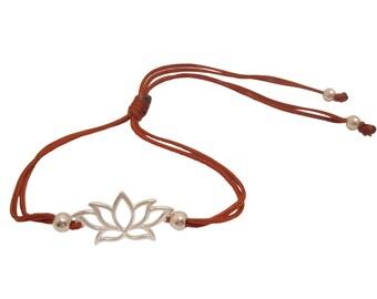 FREE SHIPPING Lotus Bracelet Yoga jewelry Silver bracelet  String bracelet Enter FREESHIP16 coupon code at checkout