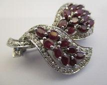 Brooch Red Ruby Gemstone White CZ Crystal Vintage Silver 925 Excellent (AV133)