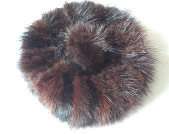 Vintage 1950s Mink Mini Pill Box Hat with Pom Pom - By Mr Charles