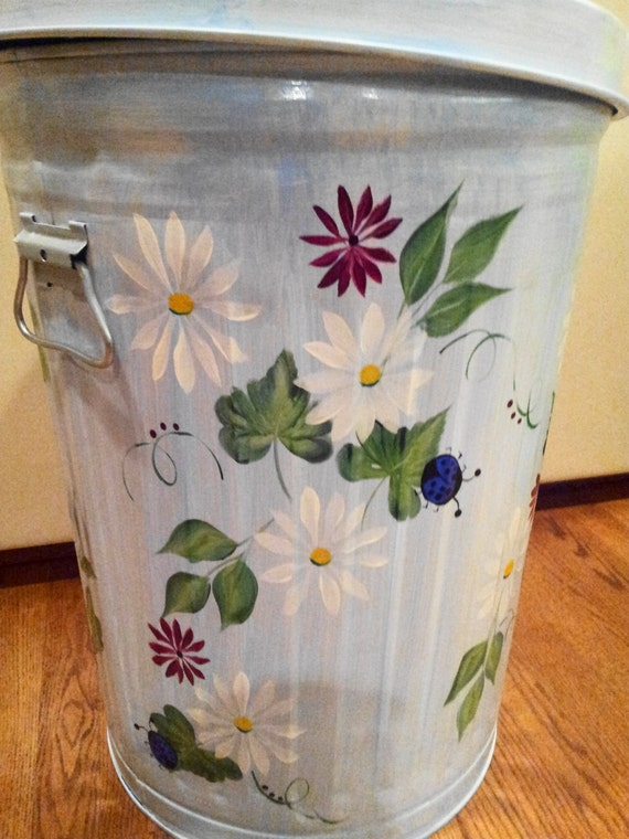 Hand Painted Galvanized Metal 20 Gallon By Krystasinthepointe